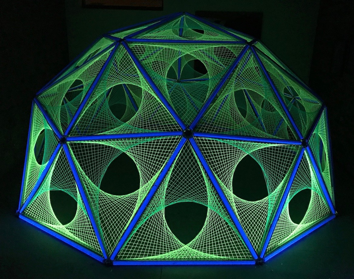 Light Art - Work commissioned for several winter light festivals and special events. Often taking my art out of formal settings and exhibiting it in public spaces. Exploring geometry and the properties of ultra violet light.
