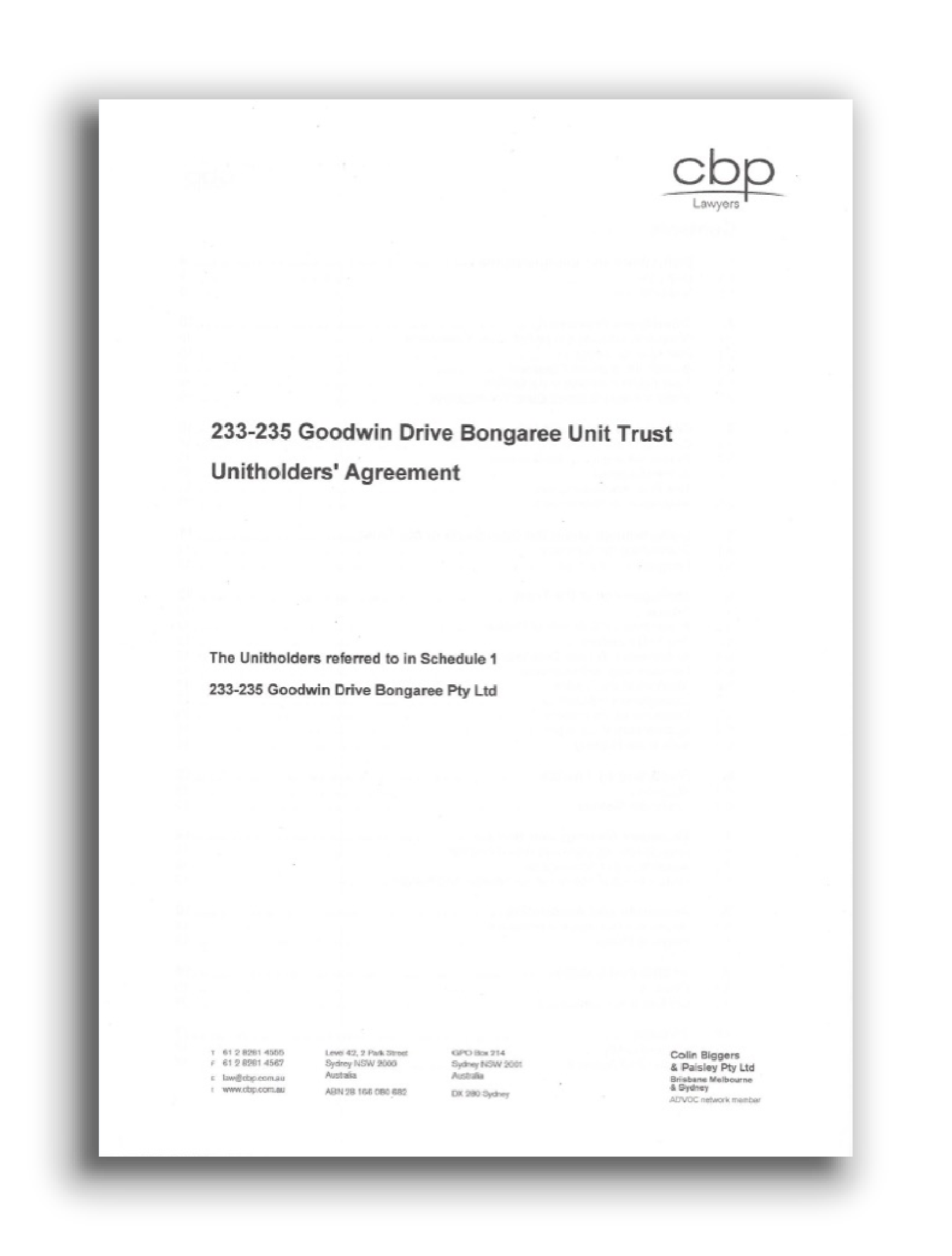 Unitholders Agreement (UHA)
