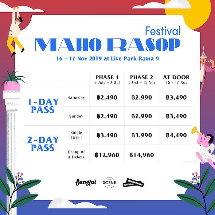 Maho Rasop Price chart Phase 1 Phase 2 At Door ticket