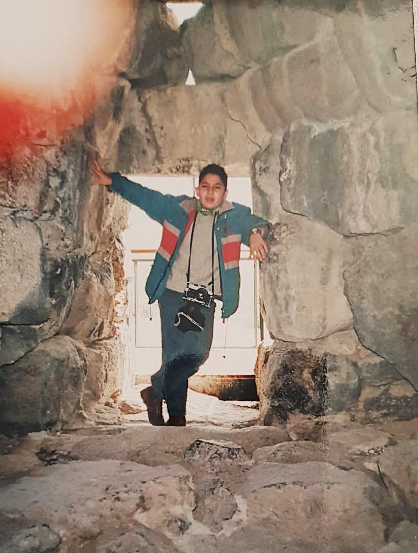 Me inside a Nuraghe, Sardinia, circa 1990.