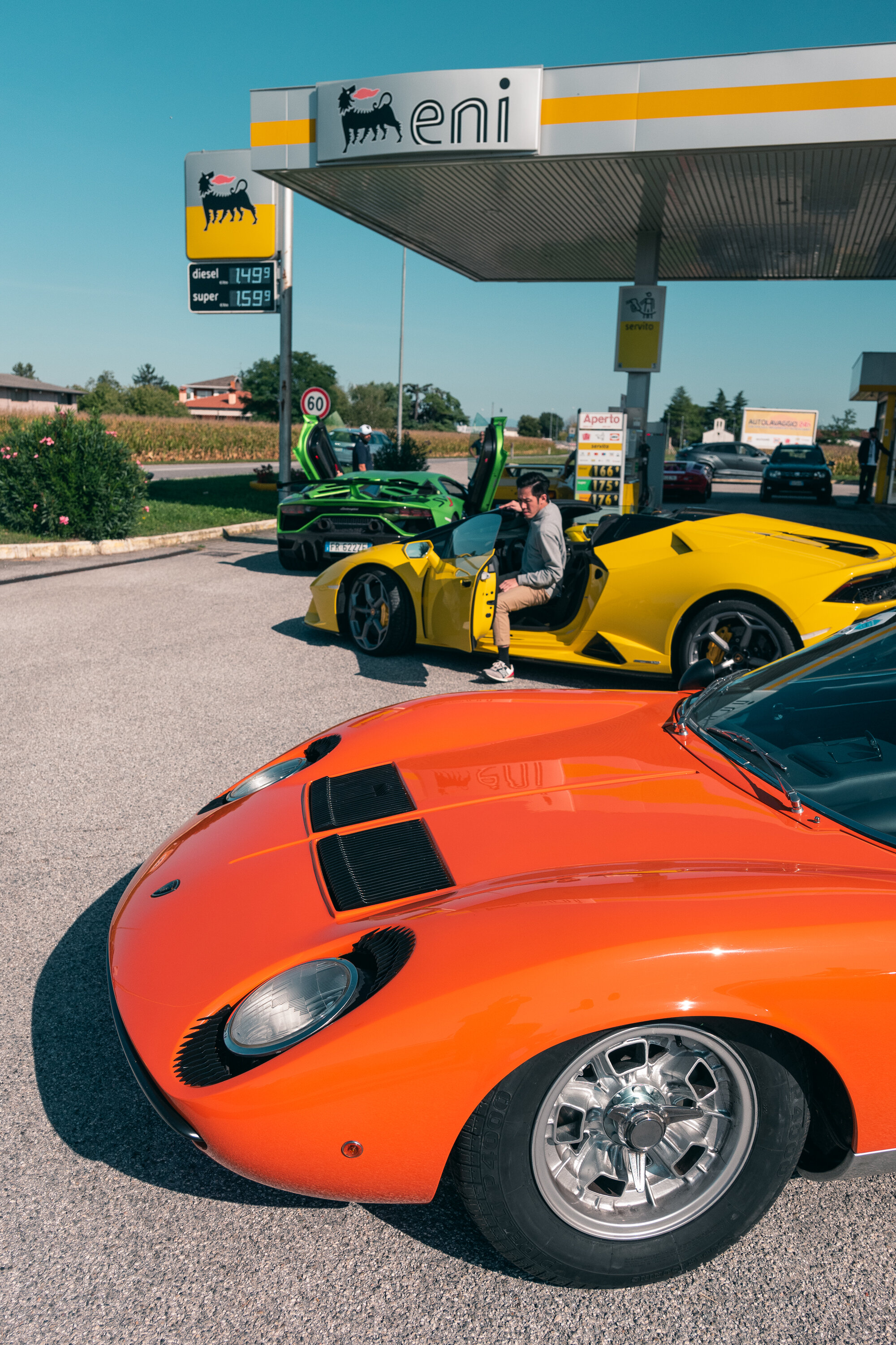Gas station stop.