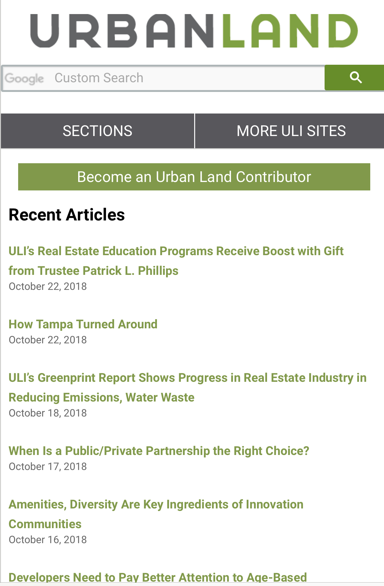 Urban Land Magazine - Urban Land is the magazine of the Urban Land Institute (ULI). We publish four print editions per year, plus online articles nearly every business day. With this online edition, our goal is to give you:Timely, succinct and useful information from ULISpecific stories and examples, told in more people's voicesInformation from your peers and colleagues in real estate & land usePerspectives on today's issues and topics that you don't get anywhere elsehttps://urbanland.uli.org