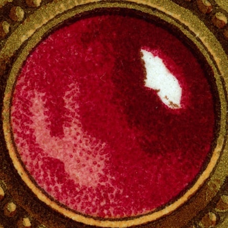 """This jeweled ruby, a typically austere and simple Etruscan design, is from an 1870 print by Racinet, """"L'Ornement Polychrome"""", published around 1870. A simple design ,anachronistically modern and geometric.  #raccinet #polychrome #ornament #chromolithograph #goldleaf #etruscan #jewelry #bling #artofjewelry"""