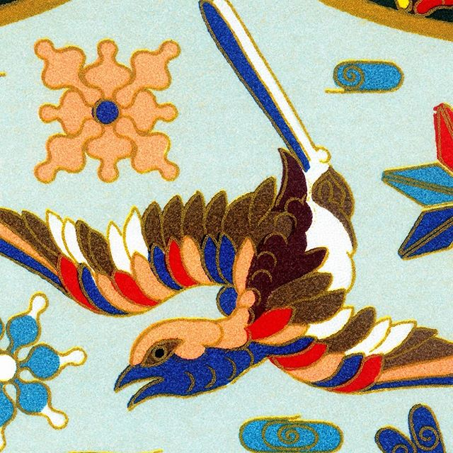 Racinet used gold dust lines to demarcate the colors of Japanese metalwork enamels. . . . . . #raccinet #gold #leaf #japanese #metalwork #nunome #zogan #nunomezogan #illustration #ornament #chromolithograph