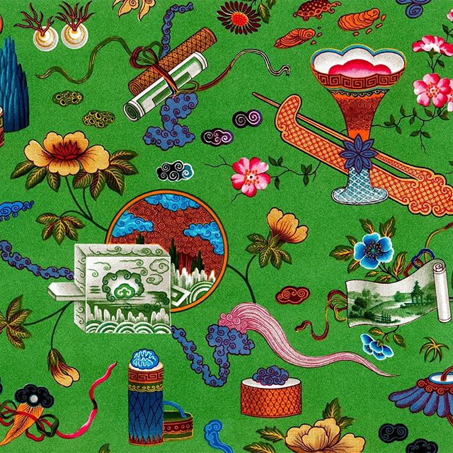 One of our favorite prints here at Visual Ambrosia. This Chinese fabric design from Racinet displays many Chinese symbols like clouds, bats, scrolls, turtles, and so many colors shine out! . . . . . #chinese #fabric #textile #green #cloud #pores #bat #bats #batty #scrolls #turtle #chromolithograph #interior #design