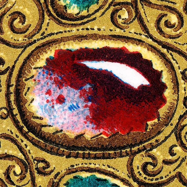 """Racinet's """"L'Ornement Polychrome"""" depicted details of gold and Byzantine jeweled book covers like this detail. . . . . . #raccinet #polychrome #ornament #chromolithograph #jewelry #goldchains #byzantine #byzantinecatholic #ruby #emerald #saphire"""