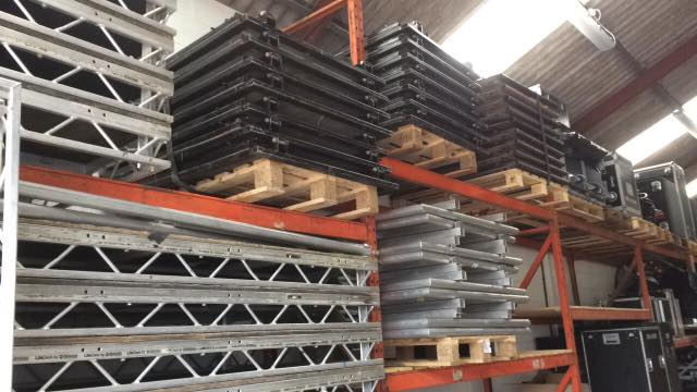 A selection of staging equipment at our large warehouse in Somerset.