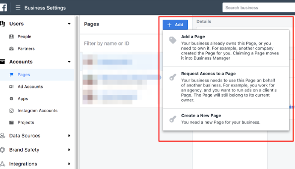 Add New Page in Facebook Ads