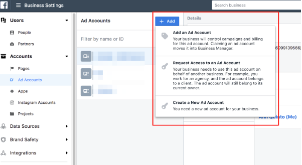 Ad accounts under people and assets tab