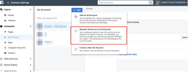 Facebook, Add New Ad accounts