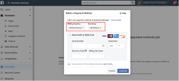 Facebook add new payment