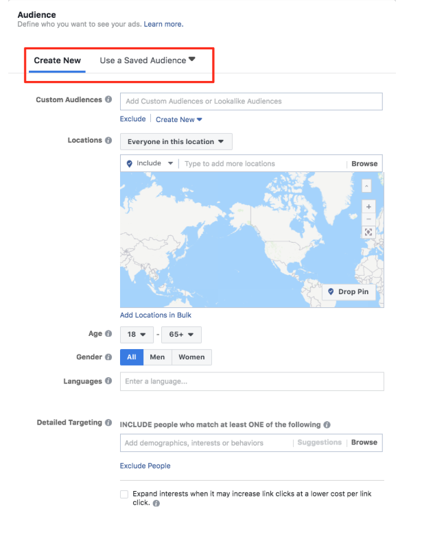 Create audience or use saved audience on Facebook