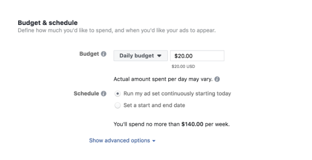 Facebook Ads budget and Schedule setting