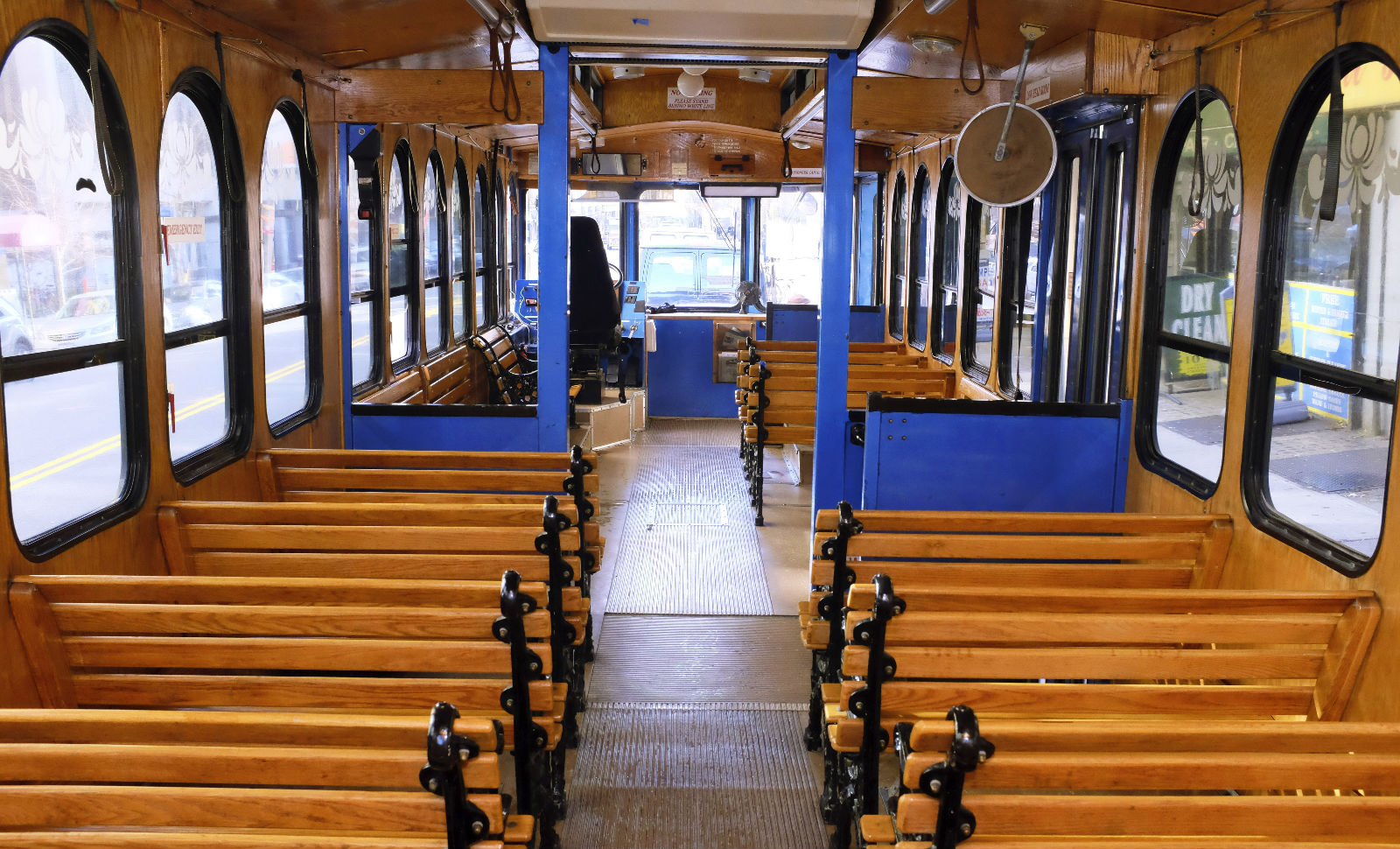 Interior of NYC charter bus