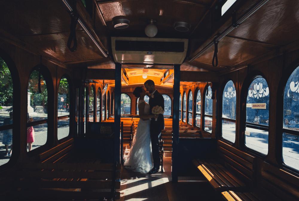 nyc wedding transportation in a trolley