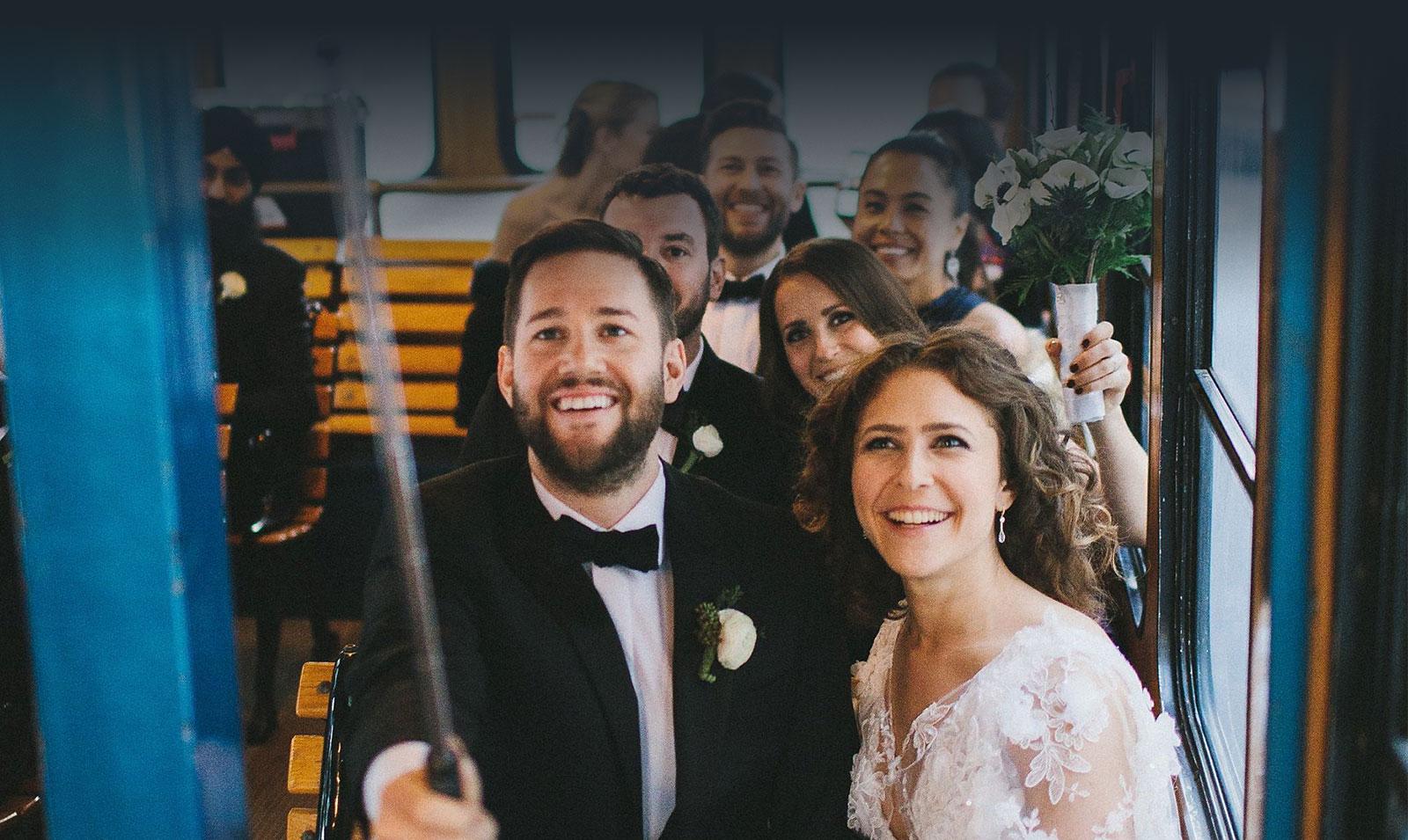 nyc wedding photo trolley transportation