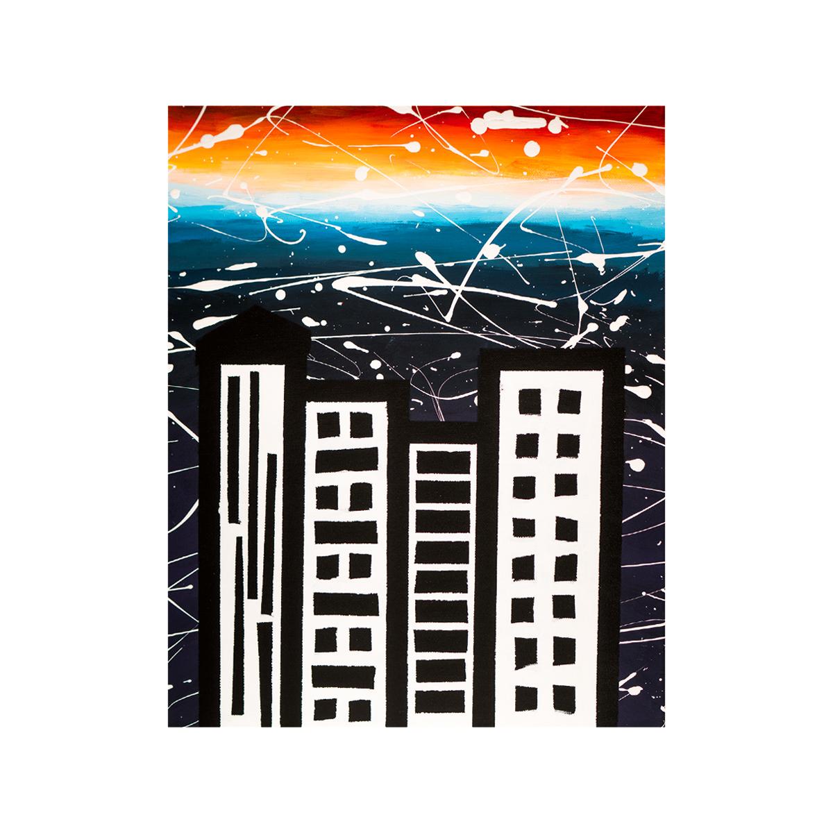 City Night Sunset  16x20 acrylic on canvas