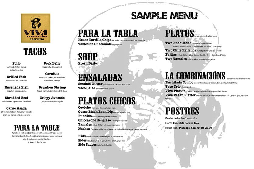 viva cantina sample menu