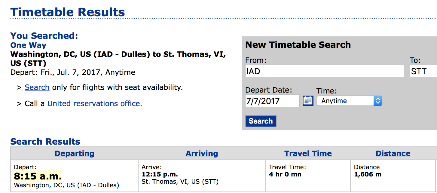 united direct flight from Washington DC Dulles (IAD) to St Thomas (STT)