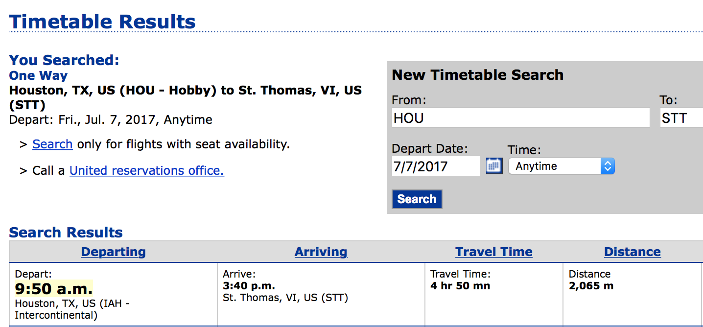 United flight direct from Houston (IAH) to St Thomas (STT)