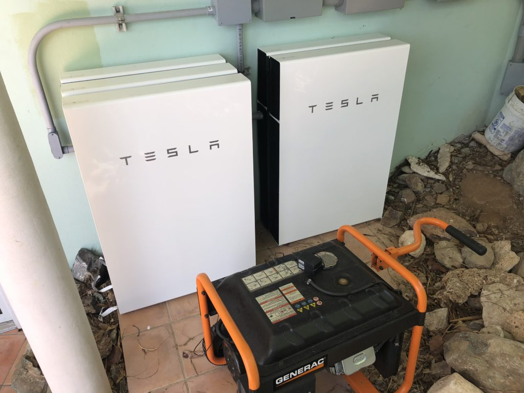 5 Tesla Powerwalls at our St. John Villa Rental