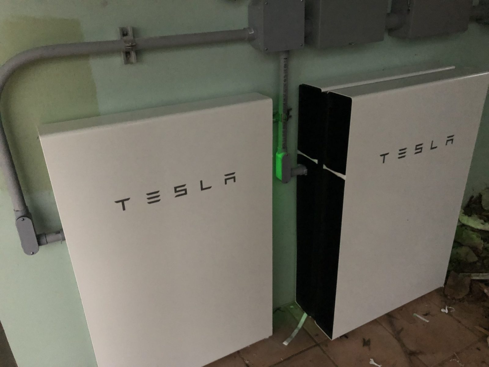 The Powerwall lit up and charging