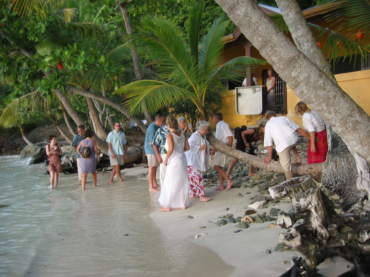 Day 6 - Bridal shower at Westin pool for all women on island. Groomsmen had breakfast then helped organize Oppenheimer Pavilion. Sunset wedding on Gibney Beach with reception at pavilion including island music. Appetizers, dinner and drinks by Passion Fruit Chefs.