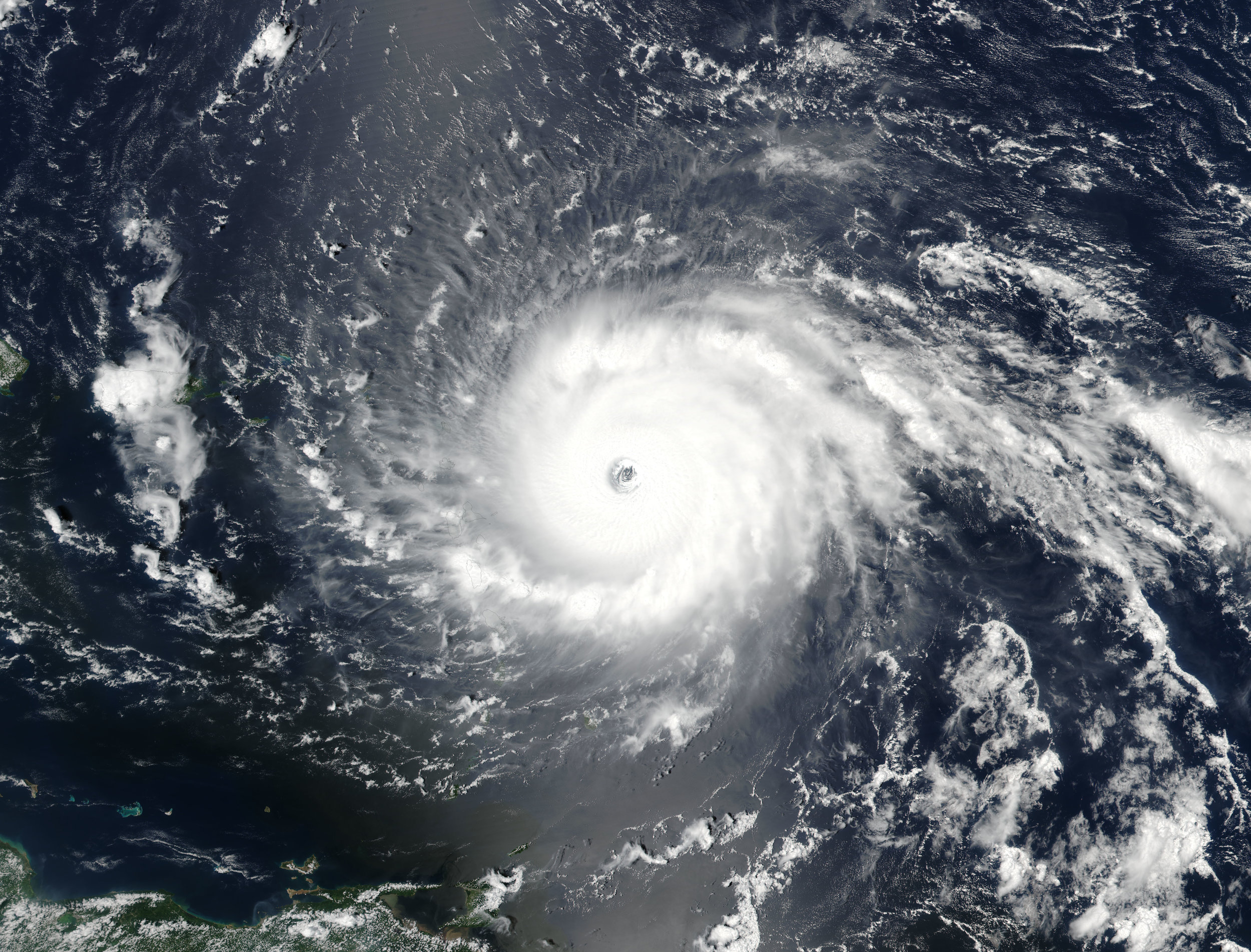 Hurricane Irma as it hit the Leeward Islands in early September 2017.