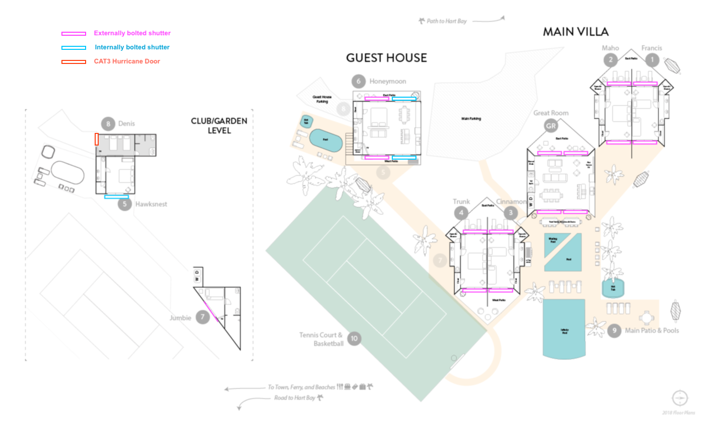 Floor plan of Great Expectations hurricane shutters (click to enlarge)