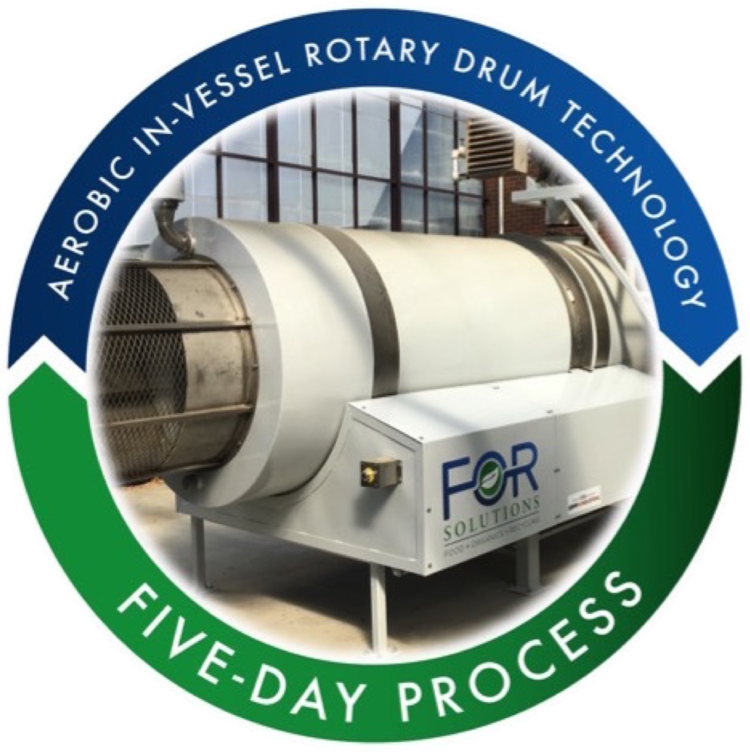 The aerobic in-vessel rotary drum is where the patented accelerated food composting process occurs. Fabricated with a stainless steel interior; the aesthetically pleasing digester is biologically and energy efficient, will not attract pests, requires very little maintenance, and is virtually odorless. It does not require any bacteria inoculants or enzymes, water, or heat.