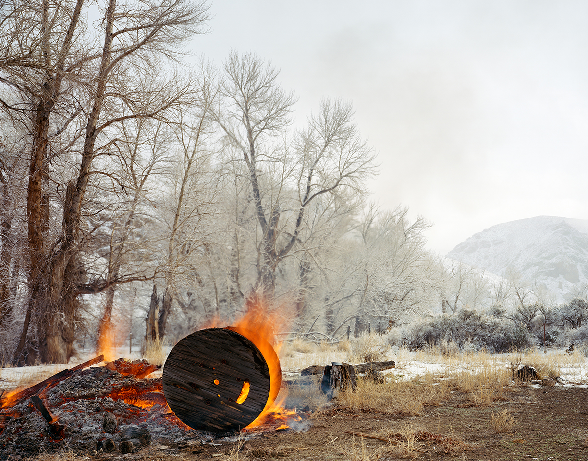 Cable Spool Burning Near a Stand of Cottonwoods, Custer County, Idaho, 2015