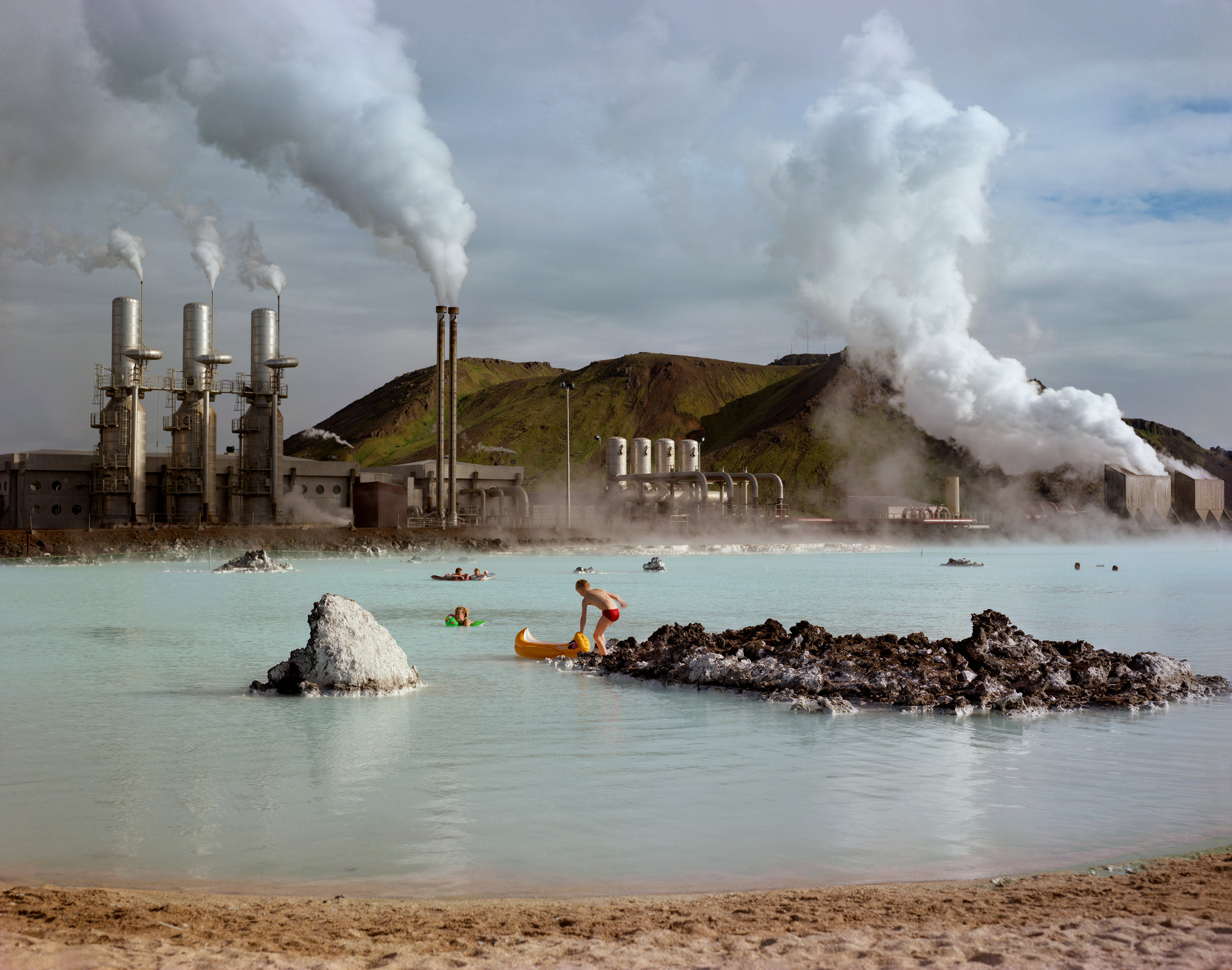 Geothermal electricity generating plant, Krafla, Iceland, 1987