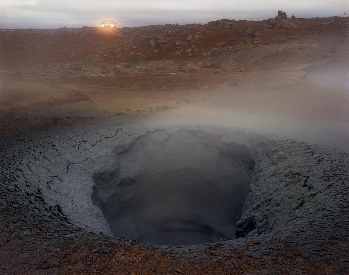 Boiling mud pot with headlights, Namaskard, Iceland, 1988