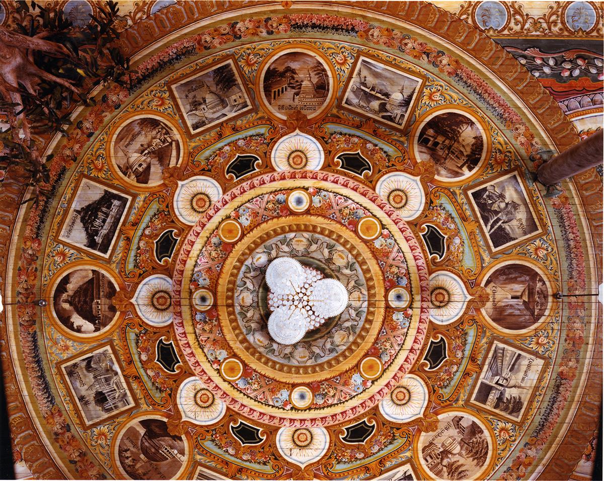 Ceiling with illustrations from black and white photographs of Sri Lanka's Dagobas, Gangarama Temple, Columbo, Sri Lanka, 1993