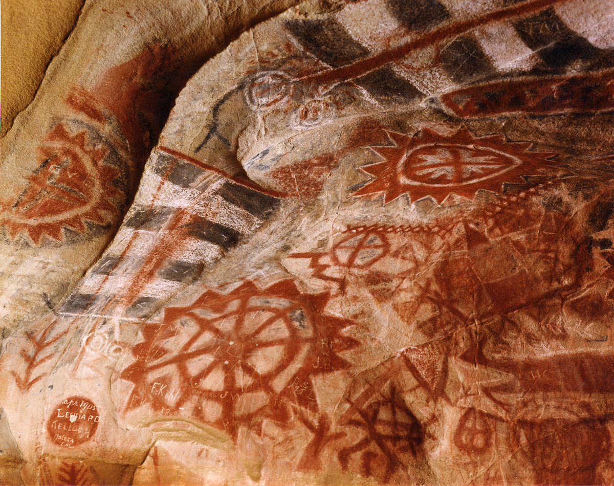 Chumash painted cave with pictographs thought to be heavenly bodies, near Santa Barbara, 1995