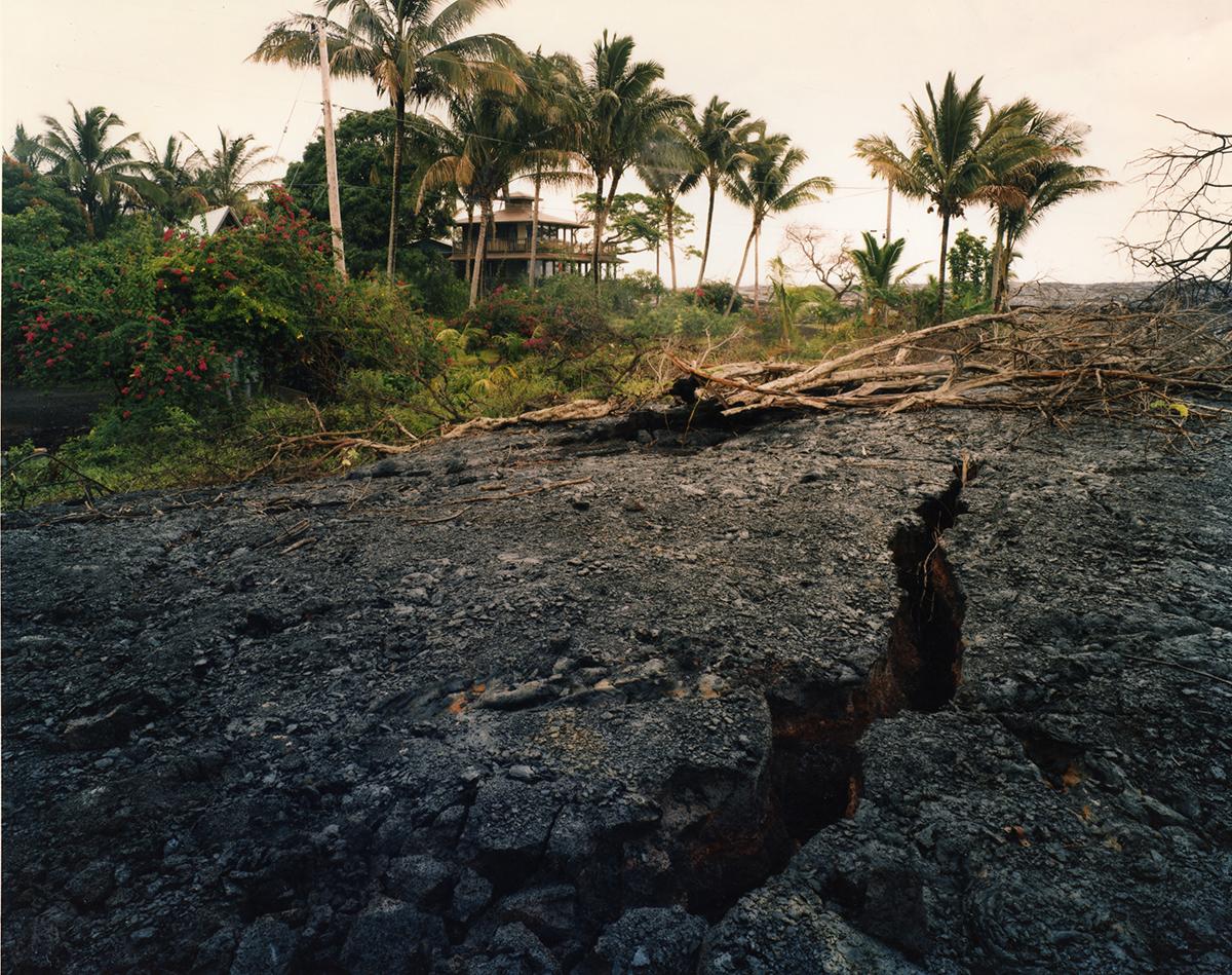 Edge of the 1990 lava flow where it crosses Route 130, Kalapana Gardens subdivision, Kalapana, Hawai'I, 1991