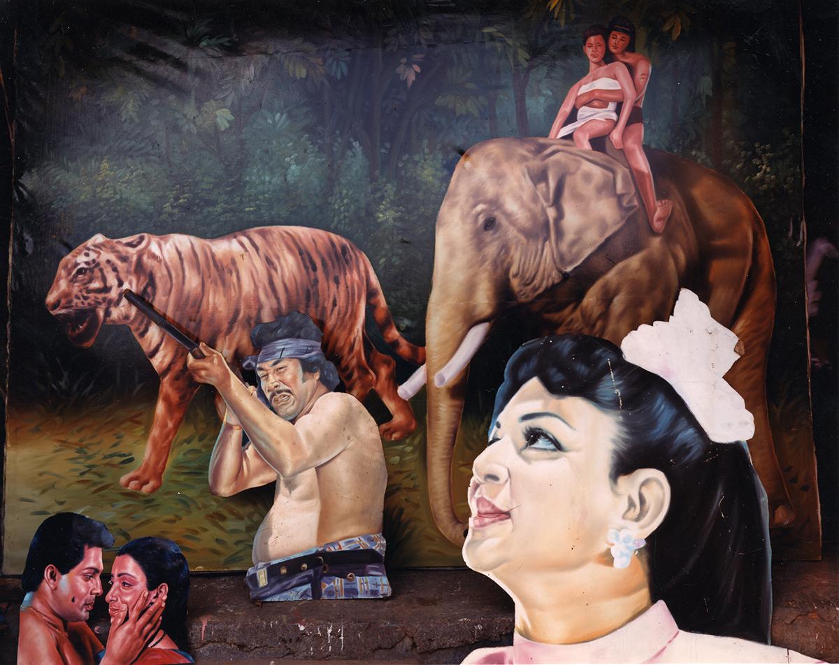 Jungle scene at Prem Hayanth's movie-billboard painting studio, Colombo, Sri Lanka, 1993