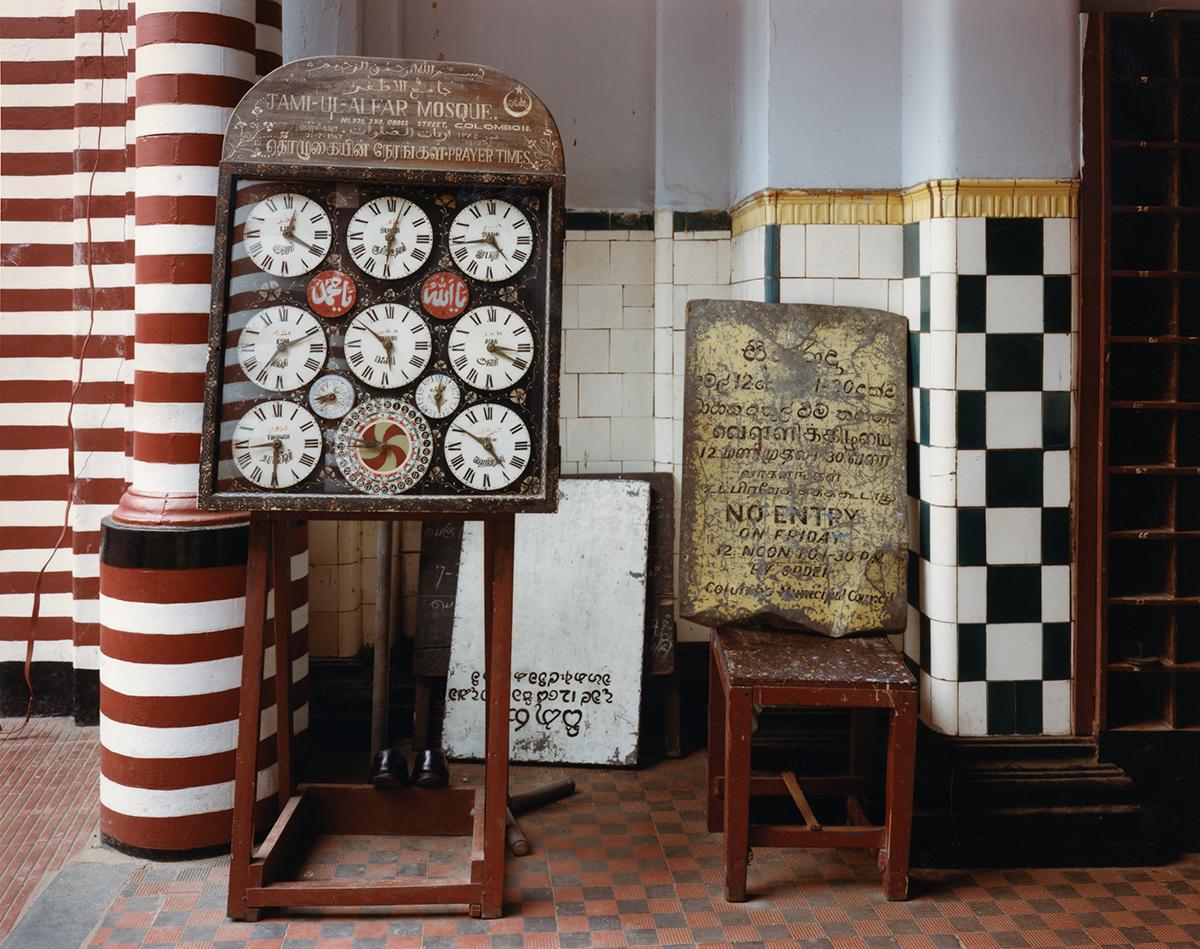 Times for call to prayer, Jami-Ul-Alfar Mosque, Colombo, Sri Lanka, 1993
