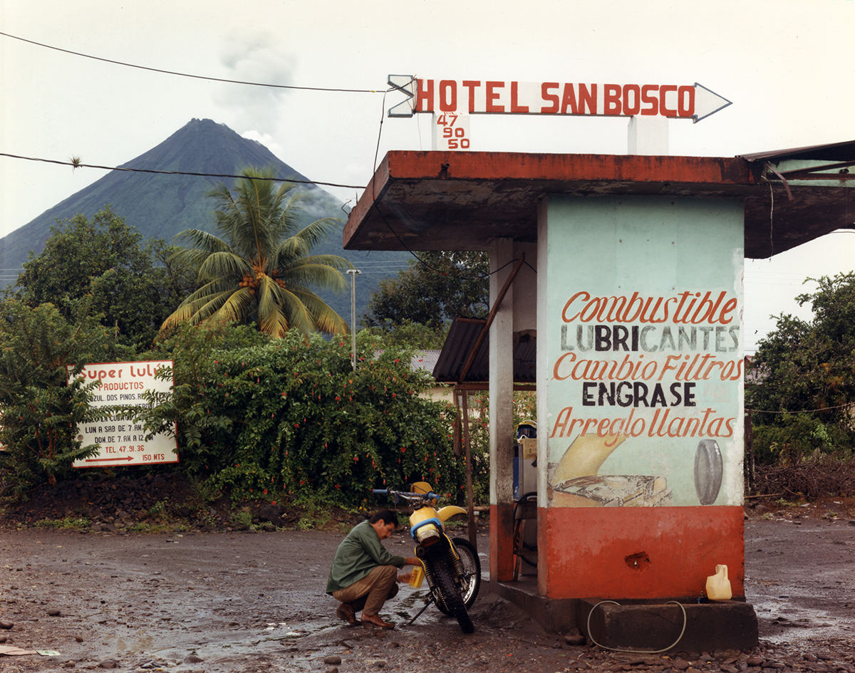 View of Arenal Volcano from the town of La Fortuna, San Carlos, Costa Rica, 1992