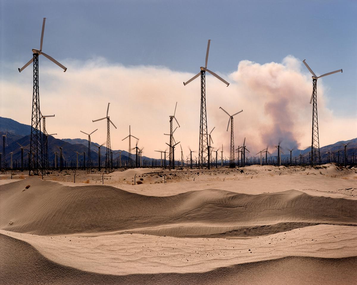 Windmills and brushfire, Coachella Valley, California, 1995