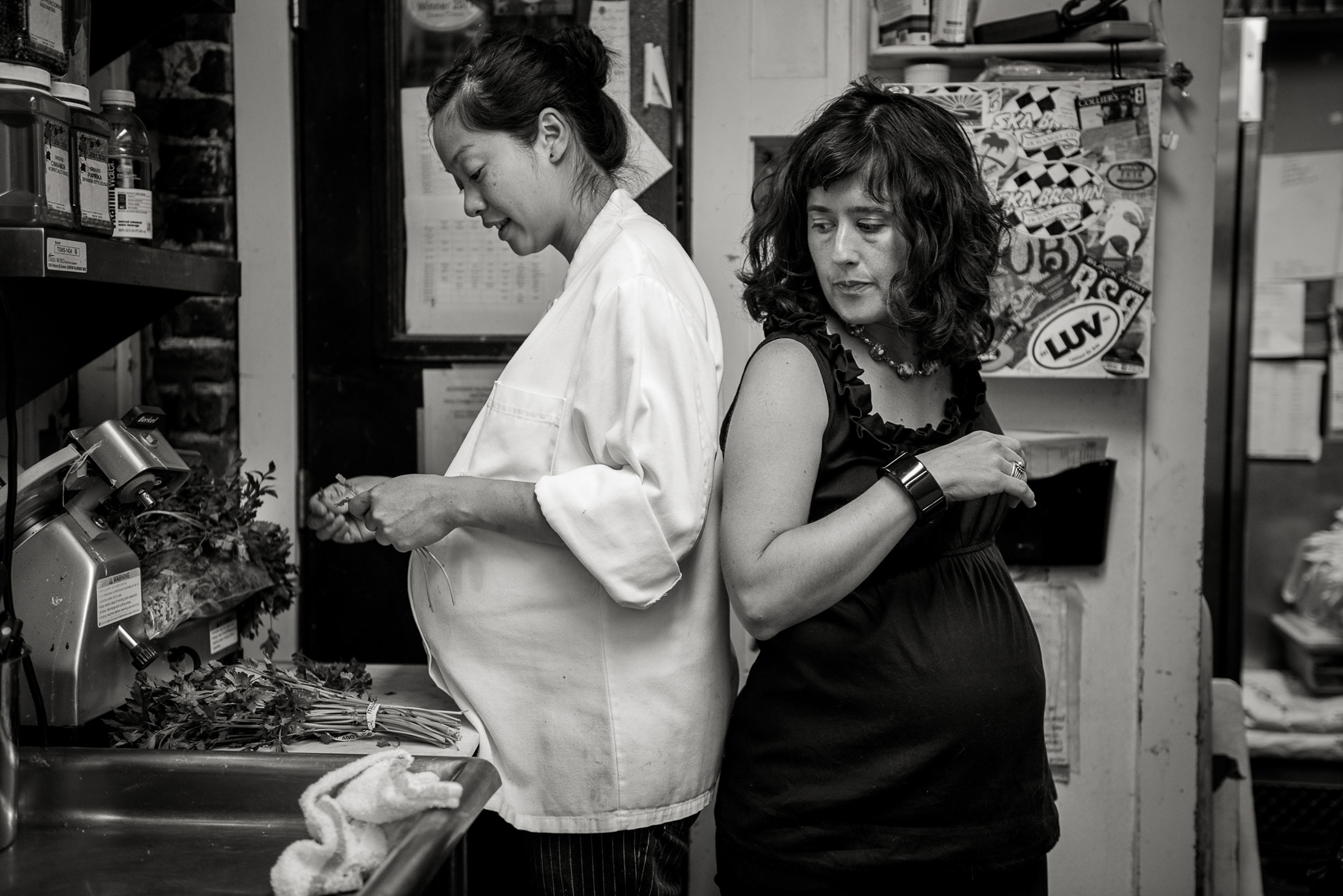 Tiffany, Cook, and Stephanie, Restaurant Owner - Carl Bower, 2012, © Carl Bower