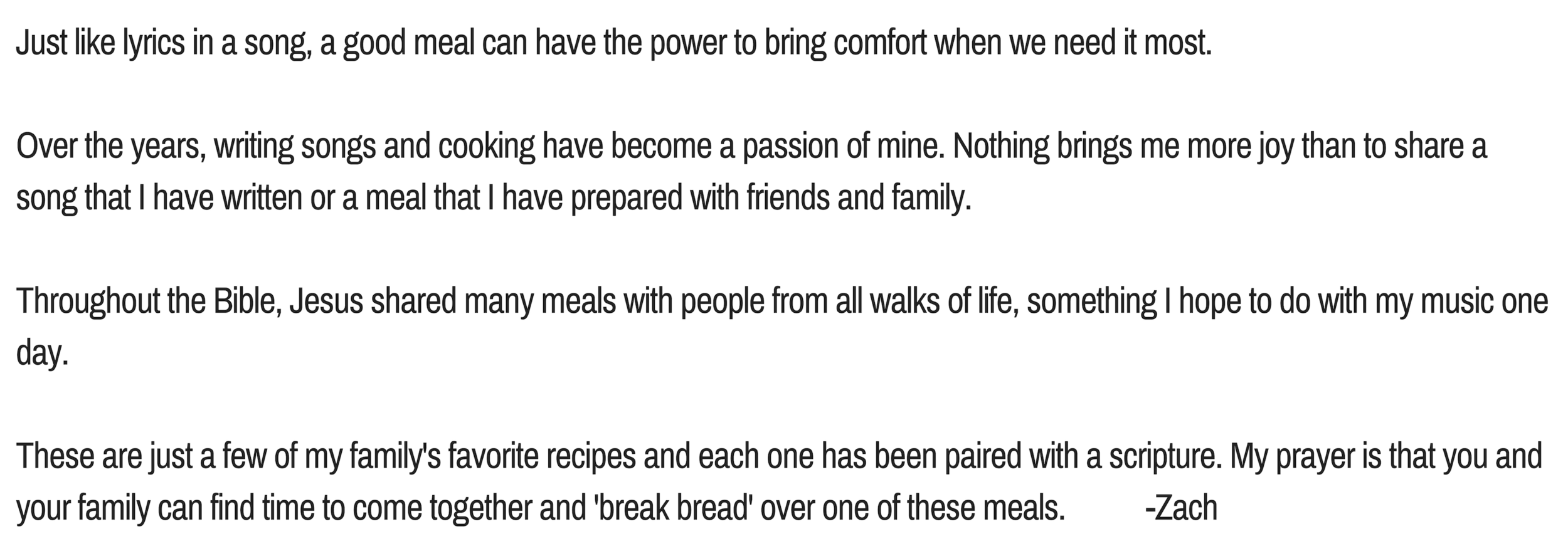 Just like lyrics in a song, a good meal can have the power to bring comfort when we need it most. Over the years, writing songs and cooking have become a passion of mine. Nothing brings me more joy than to share .png
