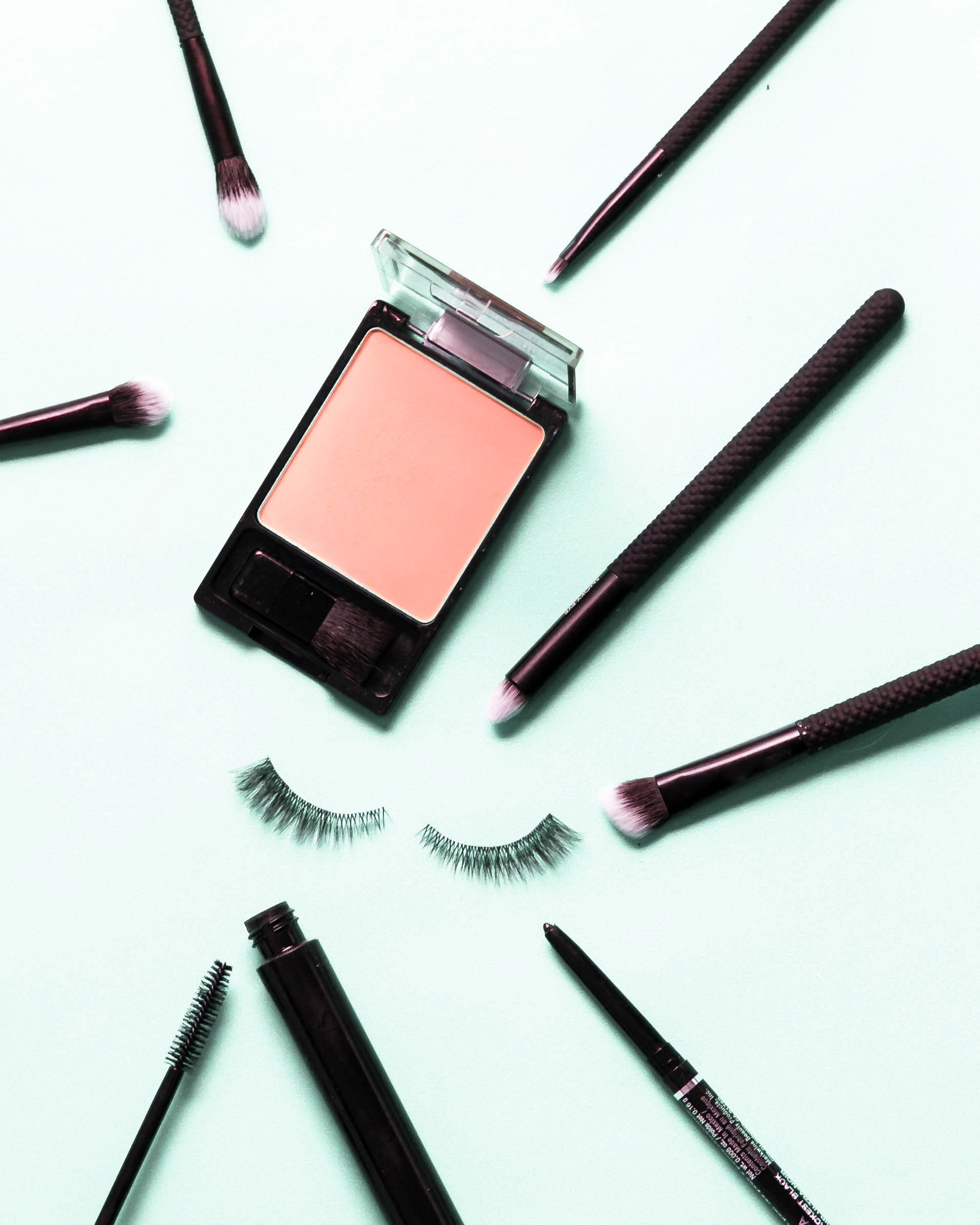 Mint Makeup Lashes Brushes and Blush.JPG