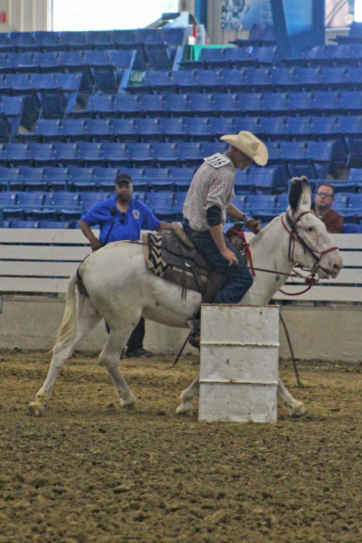 Oklahoma Speck and Jimmy Porter won the donkey barrels class