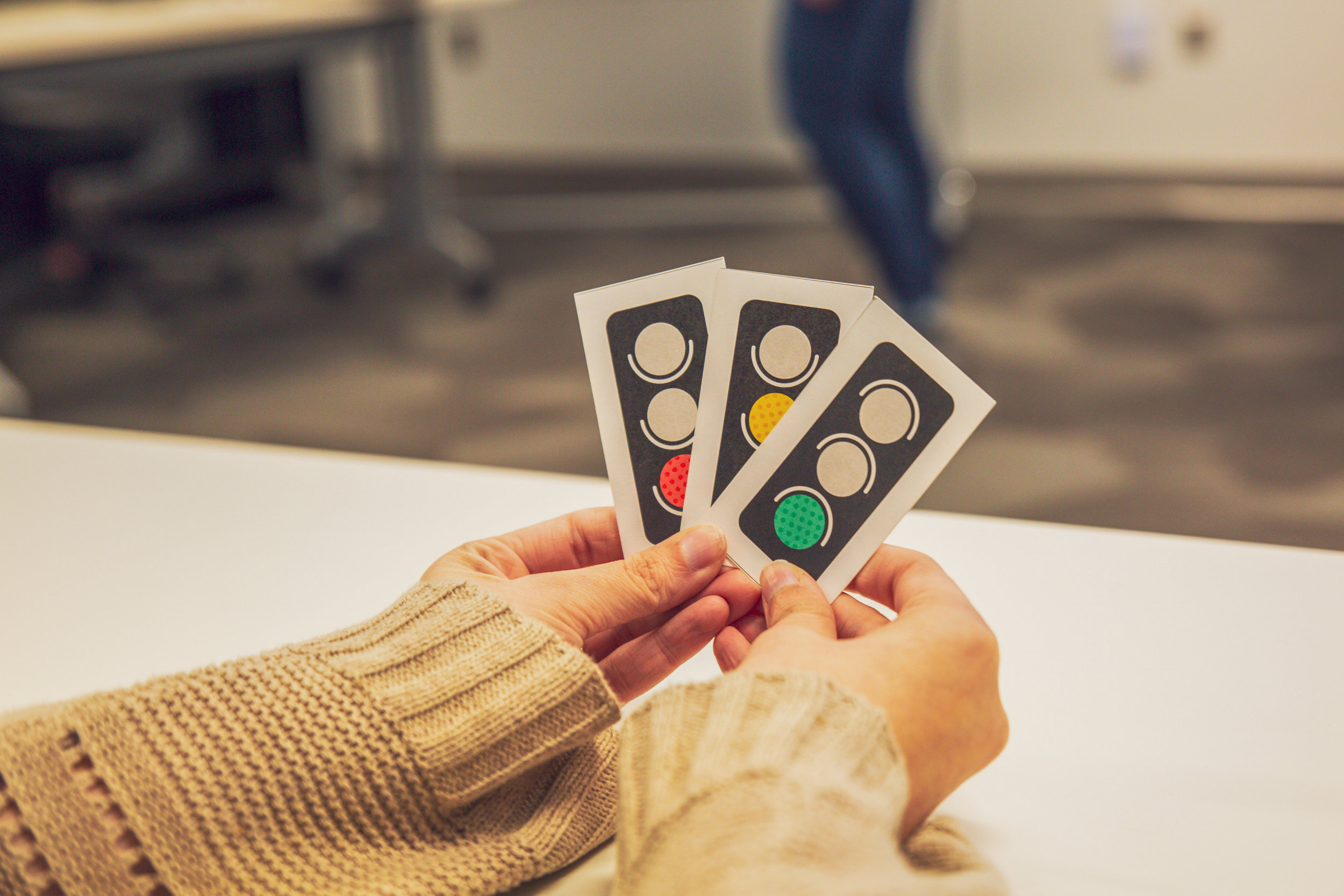 During Team Health Checks, each Spreetailer chooses a stoplight color reflecting their rating on each team dynamic. The employee then shares a brief reason they selected this color with the group.