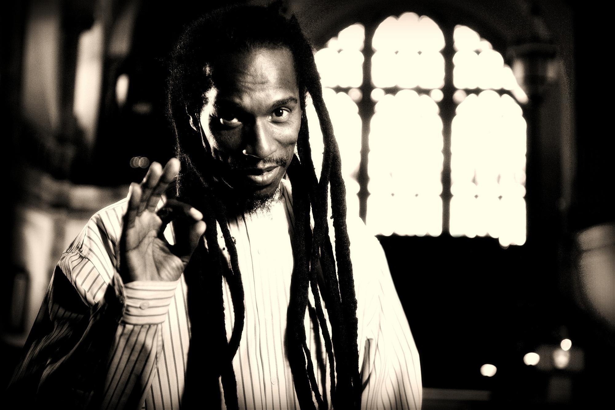 Benjamin Zephaniah  is a British writer, dub poet and Rastafarian -portrait shot for editorial.