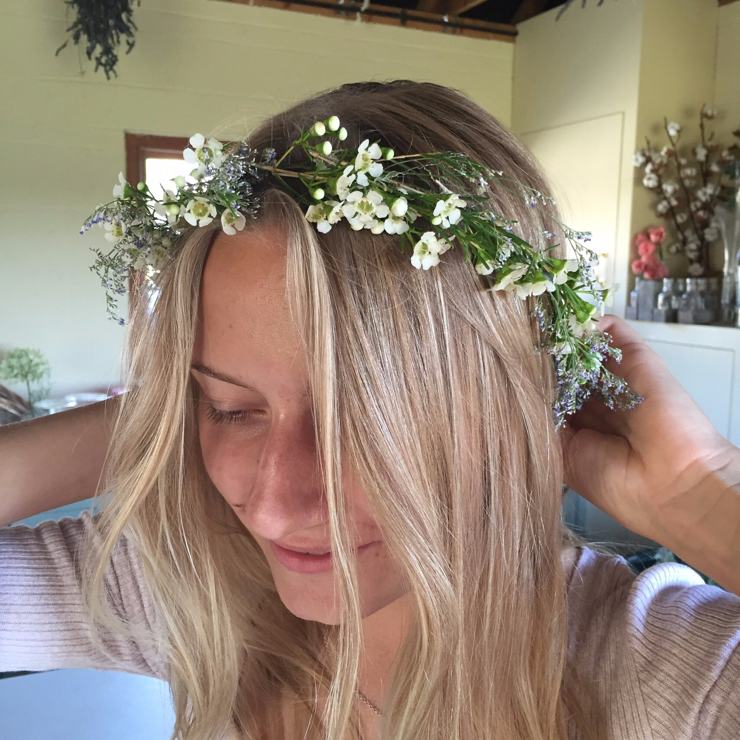 A most subtle flower crown using wax flower, perfect for a bride