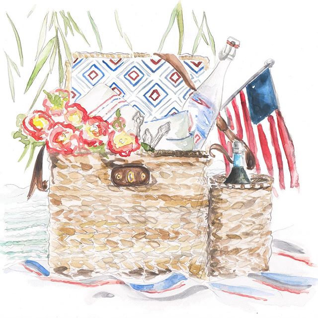 Today, we celebrate one flag, one land, and one nation! Hope your day is full of picnics, fireworks and fun! Happy Fourth of July! 💙❤️🇺🇸 • • • • • • #lindseyjenningsartanddesign #watercolor #watercolorpainting #painted #paint #alabamaartist #huntsville #huntsvilleart #fourthofjuly #4thofjuly #thefourth #picnic #flag #redwhiteblue
