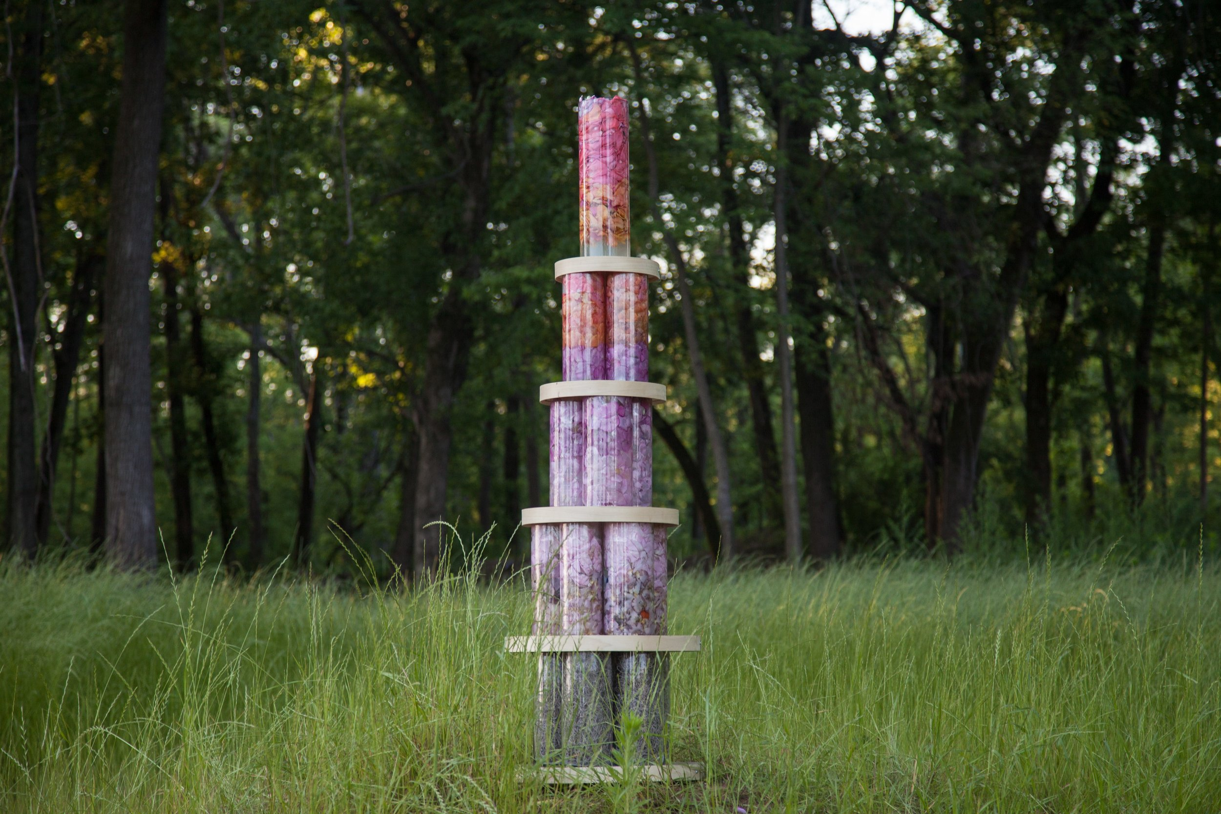 """""""Petal Pillar, River Field"""" by Stephanie Lindsay; Photography: Tatiana Rathke. Commissioned by Louisville Waterfront Botanical Gardens for Prelude Gala 2016."""