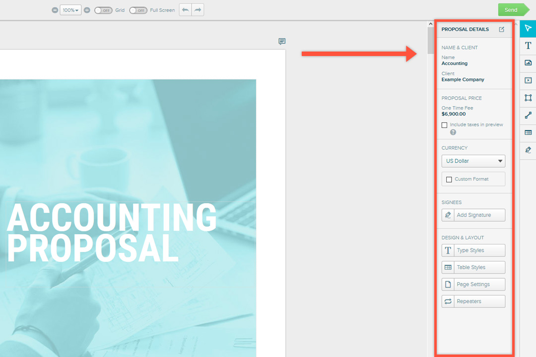 "With nothing selected, you can also alter your proposal's fonts and margins under ""Design & Layout."""
